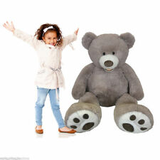 "Hugfun 53"" (134cm) Plush Sitting Bear (3+ Years) in Blonde / Grey & Espresso"