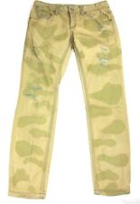 Free People Womens Size 27 Red Trimmed Camo Factory Distressed Skinny Jeans