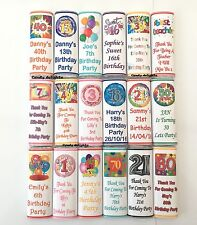 30 Personalised Birthday WRAPPERS 40th 50th 60th 65th 70th 80th 90th