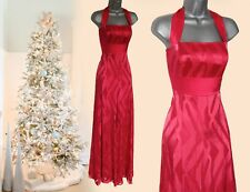 MONSOON Red Coral Napoli Silk Halterneck Ballgown Maxi Dress sz 12 EU40 £160