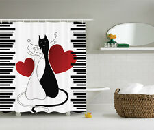 Animals Decor Cats in Love Kittens Pets Couple Two Tails Design Shower Curtain