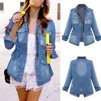 Womens Denim Jacket Elastic Waist Pocket Large Size Casual Loose Top Fashion