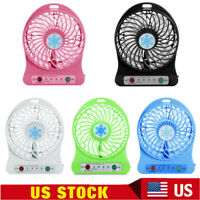 Portable Rechargeable LED Fan air Cooler Mini Operated Desk USB + 18650 Battery
