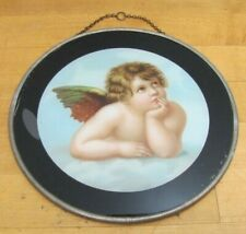 Antique Cherub in Clouds Decorative Arts Reverse Under Glass Design Top Chain