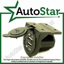 USB Socket Mount 'C' 12 24 Volt V Duel Port Motorbike Charger Auxiliary Socket