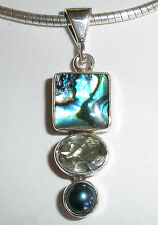 925 SILVER ABALONE SHELL WHITE TOPAZ BLACK PEARL PENDANT (chain not included)