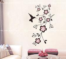 Blossom Flower Vines & Humming Bird Wall Stickers Removable Vinyl Art Decal