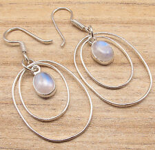 ! Silver Plated Over Solid Copper Earrings, Blue Fire Rainbow Moonstone Gemstone