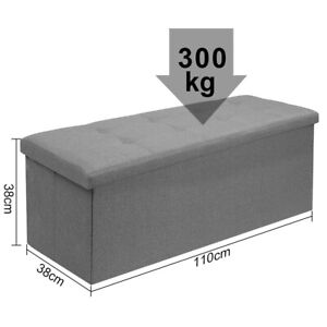 2/3 SEATER LARGE FOLDING STORAGE OTTOMAN BENCH SEAT BLANKET TOY BUTTON CHEST BOX