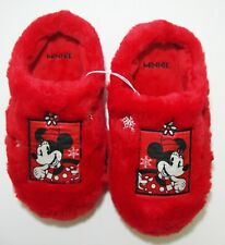 Disney Minnie Mouse Very Soft Faux Rabbit Red Slippers Womens Large 9 10