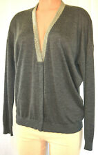 BRUNELLO CUCINELLI Cashemere Beaded Neck Line Long Sleevess Cardigan Size L