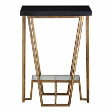Elegant Modern Angled Black Gold Accent Table | Granite Marble Top Open