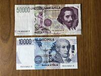 REPUBBLICA lotto 2 BANCONOTE LIRE 50000 BERNINI A 1992 LIRE 10000 VOLTA 1989