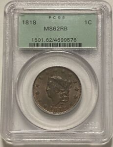 1818 Coronet Head Large Cent - PCGS MS62RB - OGH (Old Green Holder)