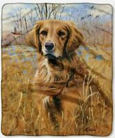 "Northwest American Heritage Royal Plush Bird Dog Throw Blanket Miss Lucy 50""X60"""
