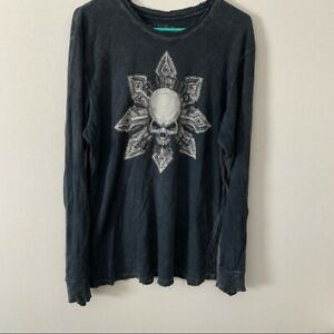 """Affliction Buckle Skull Cross Waffle Knit Thermal Long Sleeve Shirt """"Live Fast"""""""