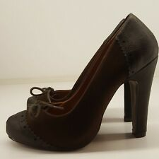 BARRATTS Ladies Shoes UK 4 Brown Faux Suede High Heel Court Ornamental Laces