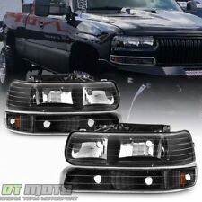 Black 1999-2002 Chevy Silverado 00-06 Tahoe Suburban Headlights+Bumper Lamps Set