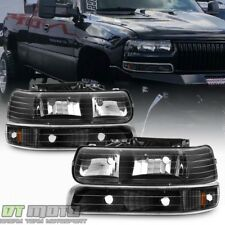 Black 1999-2002 Chevy Silverado 00-06 Tahoe Suburban Headlights +Bumper Light