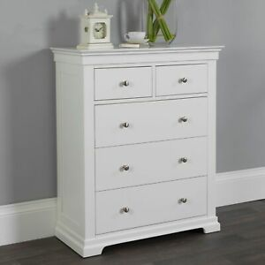 Jolie Oak White Painted Bedroom Storage Furniture 2 Over 3 Chest of Drawers