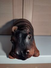 More details for vintage leather wrapped hippopotamus hippo ornament figurine