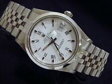 Men Rolex Date Stainless Steel Watch Jubilee Band White & Black Roman Dial 15000