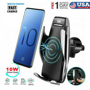 Clamping Car Wireless Fast Charger Phone Holder Air Vent Mount fr Samsung iPhone