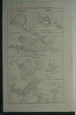 c1850 - Ports in Ireland East Coast Maps, Dublin,Wexford,Waterford, Kingstown.