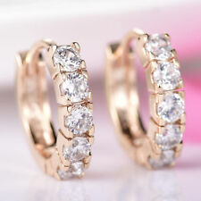 Stylish and Classy 18K Yellow Gold White Crystal Hoop Earrings          383