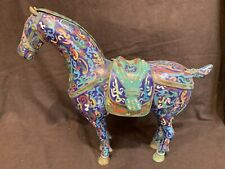 """Antique Chinese Qing 19thC cloisonne horse 14"""" tall 16"""" wide BEST QUALITY"""