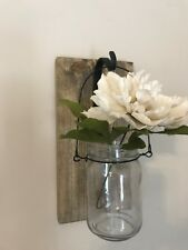 Farmhouse Wooden Ball Jar Flower Or Candle Hanging Piece