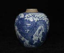 Antique Chinese Blue & White Porcelain Pot w/ dragon