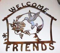 Welcome Friends Humming Bird Metal Wall Art Decor
