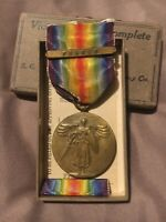 WWI Victory Medal and Ribbon w/ France Clasp boxed set