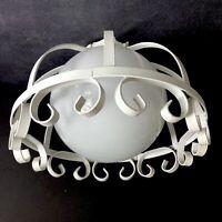 Cage Light Glass Globe White Scroll Iron Ceiling Fixture Vtg Mid Century Restore