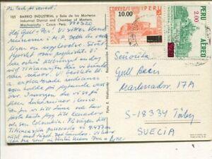 Peru air mail post card to Sweden 1977