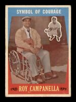 1959 Topps # 550 Symbol Of Courage Roy Campenella VG-EX Surface Wear *OBGcards*