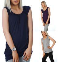 PrettyFashion Womens Plain Top Long Line Short Sleeve T Shirt Blouse Sizes 8 -18