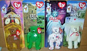 Lot of 4 McDonalds Beanie Babies Bear Set Britannia Erin Glory New 1999