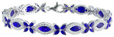 Sterling Silver 925 Flower Womens Blue and White CZ Stone Bracelet 7mm Wide