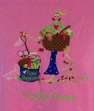 Quacker Factory Womens S Pink Embellished Lazy Summer Picnic Sweatshirt CB39A