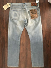 New Ralph Lauren RRL SLim  DLim Fit Stained  Denim Jeans 34 x 32