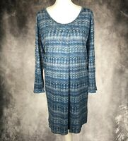 POETRY 100% Linen Lagenlook Quirky Blue Knee Length Tunic Dress Size 22 Summer