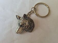 A66 Wolf Head made of fine English Pewter on a split keyring