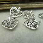 10PCS Tibetan Silver Peach heart Flower Charms Pendant Beads Jewellery Craft MA