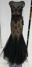 JULIETTE Black Beaded/Sequin Gown, Ruffle Hemline - Sz 8 - NWT - Show Stopper