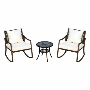 Outsunny 3 Piece Outdoor PE Rattan Patio Rocking Chair Set with Table - Brown