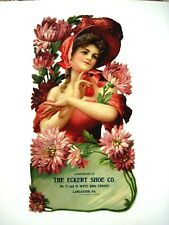 """1910 Vintage Advertising Sign Die Cut """"The Eckert Shoe Co."""" w/ Gorgeous Lady *"""