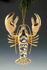 Lobster FIGURINE - ORNAMENT 24KT GOLD PLATED WITH AUSTRIAN CRYSTALS