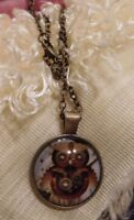 """Necklace Steampunk Owl Glass Dome 24"""" Chain Antique Brass"""